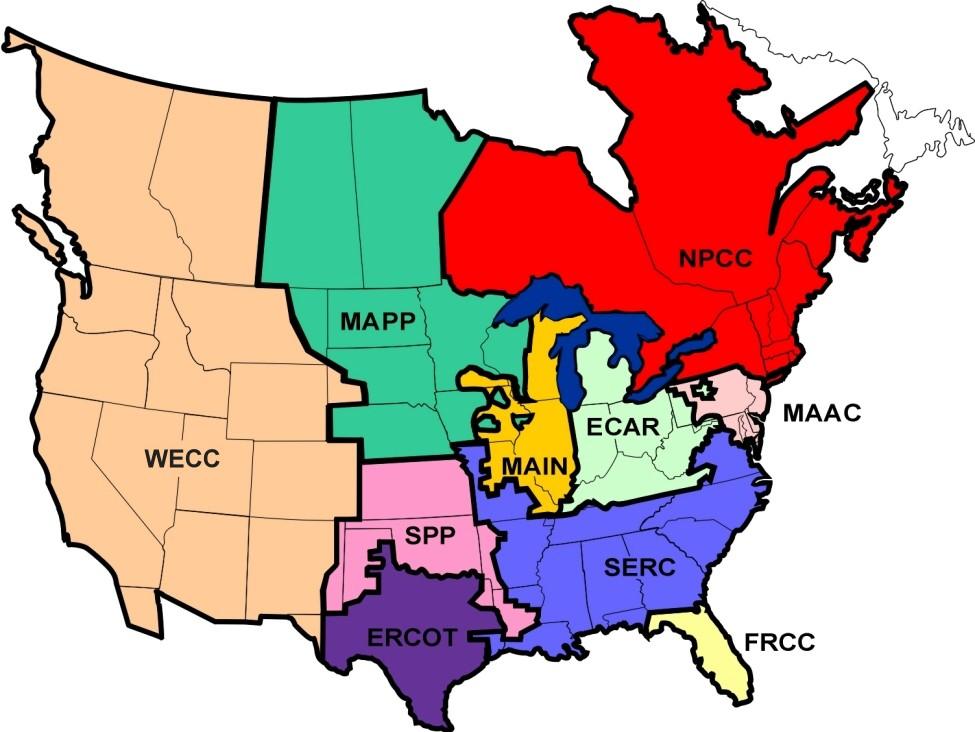NERC Regions Map